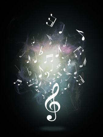 music score: Treble clef or music symbol on black background