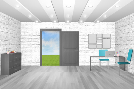 composite image: Composite image of an office with doorway