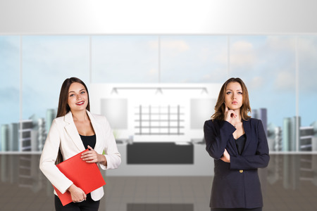greet: Reception desk in office or hotel with people in it. Illustrated background