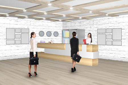 hotel manager: Reception desk in office or hotel with people in it. Illustrated background