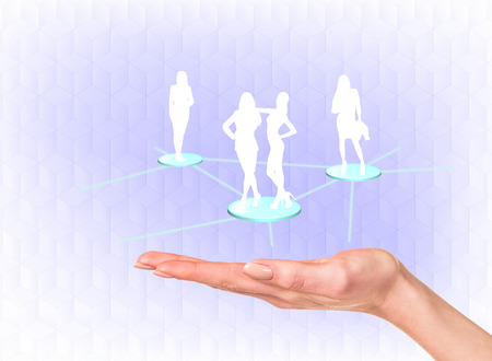 linked hands: Silhouette of business people on the hand