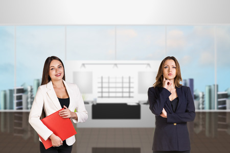 reception desk: Reception desk in office or hotel with people in it. Illustrated background