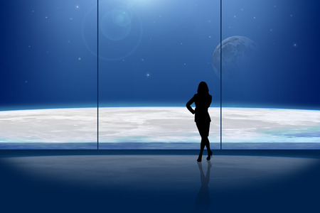 businesslady: Businesslady in front of the window at night Stock Photo