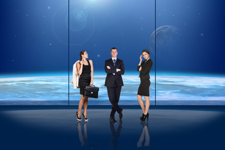 Business people on globe background photo