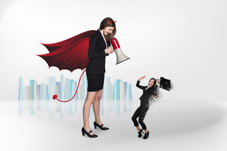 businesslady: Devil businesslady with a megaphone screeming at another businesslady