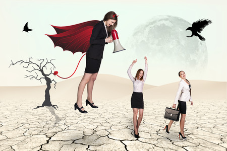 businesslady: Devil businesslady with a megaphone screeming at another businessladies in a desert