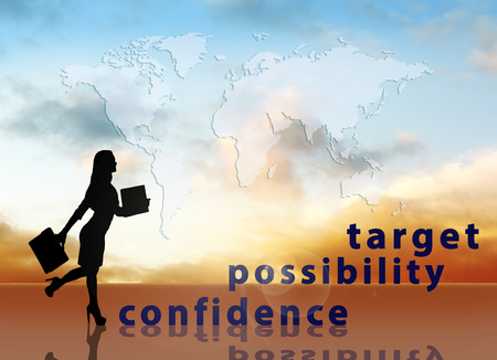 Businessman climbing up on a staircase of words on sky background photo