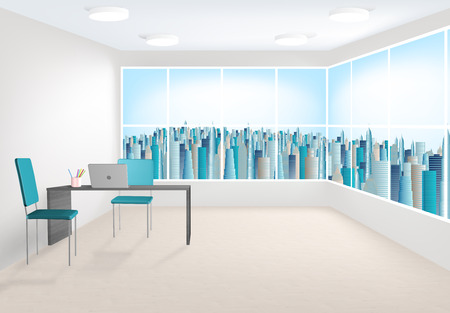 3D rendering of modern office interior with large windows photo