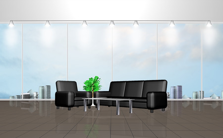 3D rendering of interior of a waiting room with large windows photo
