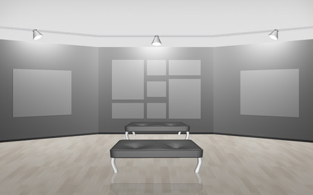 settee: Gallery with settee and empty spaces for pictures