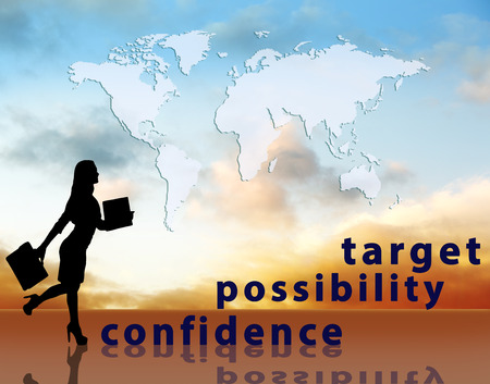work worker workforce world: Image of confident businesswoman with briefcase walking up to target.     Stock Photo