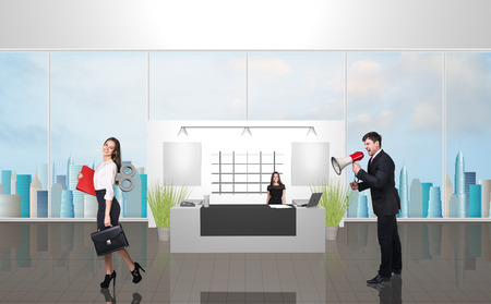 sobbing: Office reception with people. Illustrated background. Megaphone