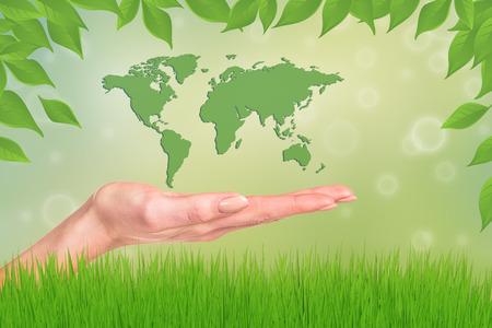 el mundo en tus manos: Mundo en sus manos. Extracto de la hierba verde. Foto de archivo