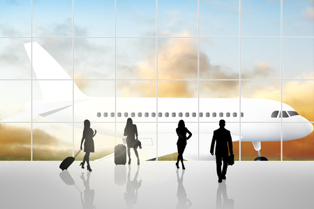 business trip: International Airport Terminal Travel Business Trip Concept Stock Photo