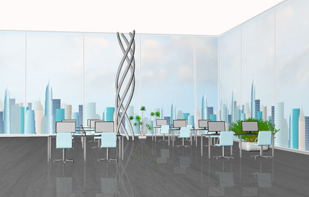 large windows: 3D rendering of modern office interior with large windows Stock Photo