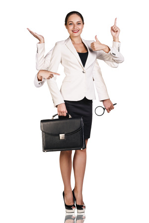 Beautiful business woman with six arms, holding magnifying glass, briefcase and showing signs