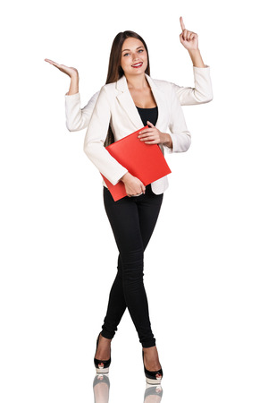 smiley woman with four hands holding red folder photo