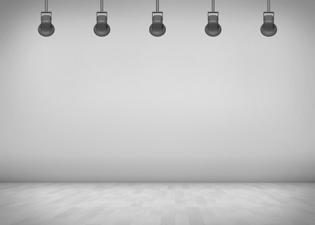 photo studio: Empty grey room with spotlight background. Copy space