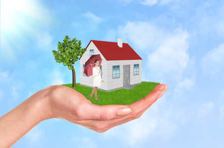 commercial tree care: Hand holding house on green grass with tree, wind. Background clouds and blue sky