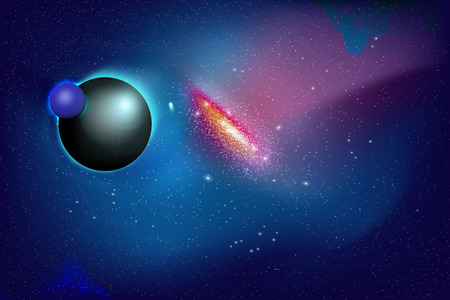 cosmology: Planet and Galaxy Shine in the space. Colourful Background