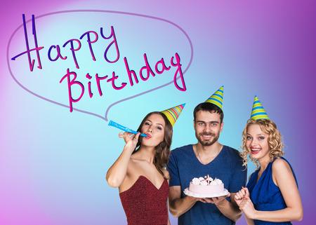 birthday adult: Three happy people celebrating a birthday party