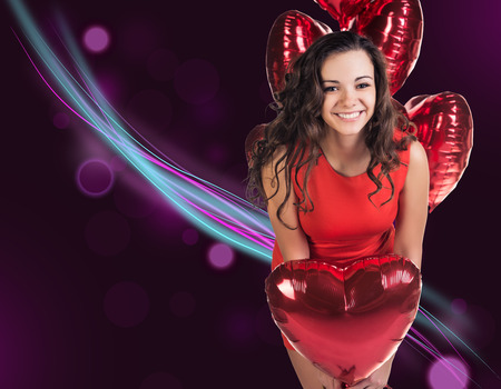 baloons: Woman with red valentine baloons Stock Photo