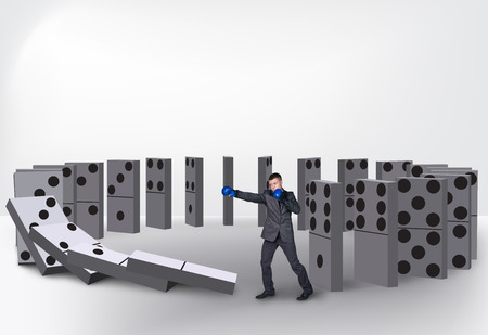 cause and effect: Domino  effect isolated on white background Stock Photo