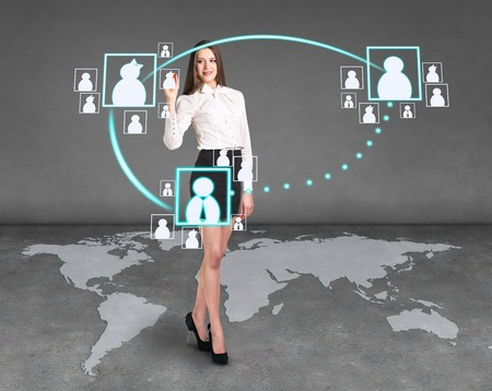 techniques: Businesslady on the map using digital techniques