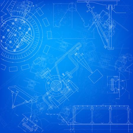 machine parts: Blueprint scheme of different parts of machine