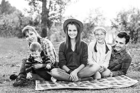 frendly: Happy frendly family have a picnic outdoor