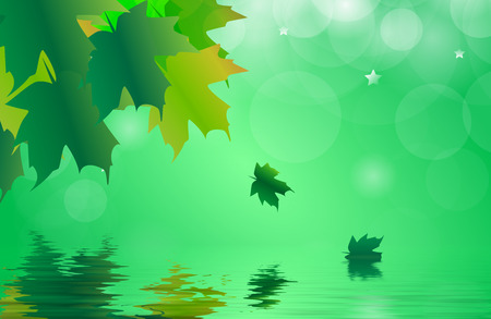 gently: Abstract of a maple leaves in autumn reflected over gently rippled water