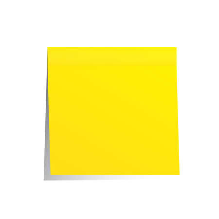 yellow post it note isolated on white Foto de archivo
