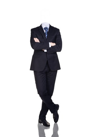 Businesman without head isolated on white. Crossed hands
