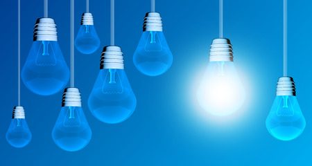edison: Light bulb lamps on a colour background Stock Photo