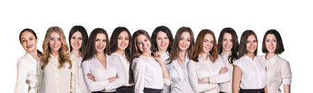 lineup: Businesswomen with smile lineup on isolated background