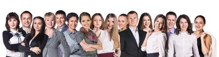 fila de personas: Formaci�n de diversos ejecutivos de negocios profesionales o socios de pie en una fila aislados en blanco
