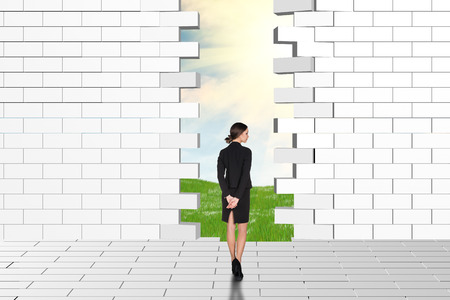 dilapidated wall: Beautiful businessperson watching dilapidated brick wall, green meadow and sky as backdrop.