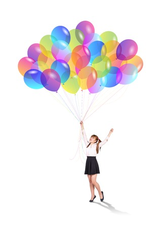 baloons: Happy girl  with baloons on isolated background
