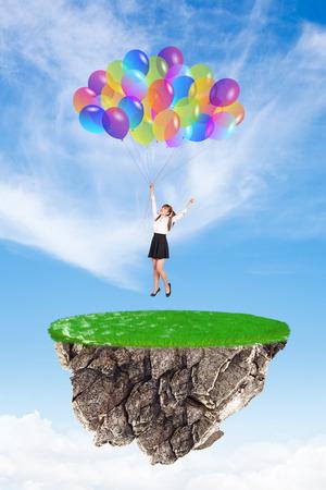 baloons: Happy girl with baloons landing to flying island