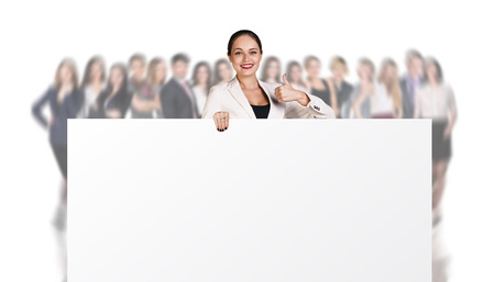 successful woman: Successful Woman with Billboard isolated on white