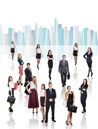woman standing: A lot of people in office clothes form a business team Stock Photo