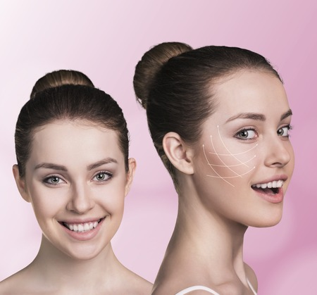 aging skin: Young happy female with clean fresh skin, white background Stock Photo