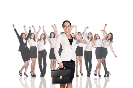 professional people: Businesswoman on the background of smiling happy businesswomen Stock Photo