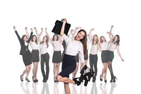 estuche: Empresaria en el fondo de la sonrisa empresarias felices
