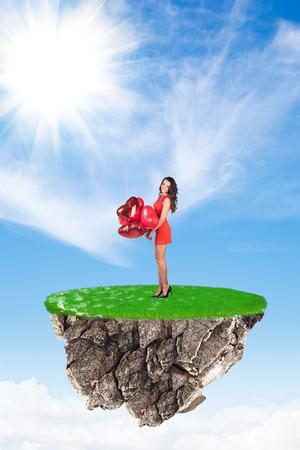 lady fly: Beautiful woman in dress on flying island