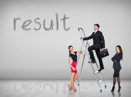 Businessman with woman assistant climbing a ladder with motivation background Stock Photo