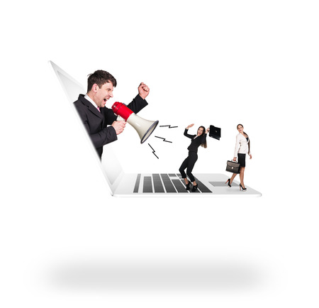 get out: Businessman with megaphone get out of laptop and shouts on colleagues Stock Photo