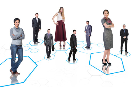 confident business woman: Happy business colleagues stay on shapes isolated
