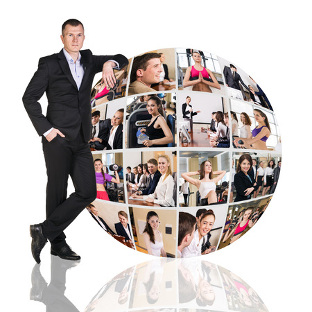 collage: Man stands beside collage of diverse business people in sphere over white background