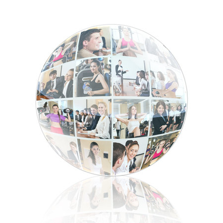 mixed age range: Collage of diverse business people in sphere over white background